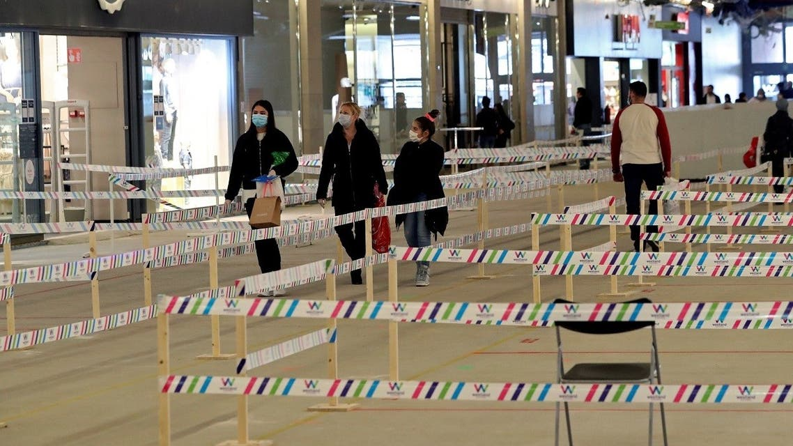 An area is cordoned off to keep social distance during the reopening of stores as Belgium began easing lockdown restrictions following the coronavirus disease (COVID-19) outbreak, in Brussels, Belgium May 11, 2020. (Reuters)