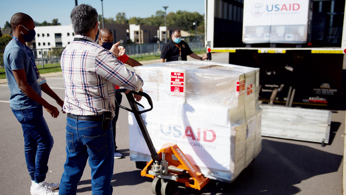 A US shipment of ventilators arrive in South Africa on May 11, 2020. (Twitter)