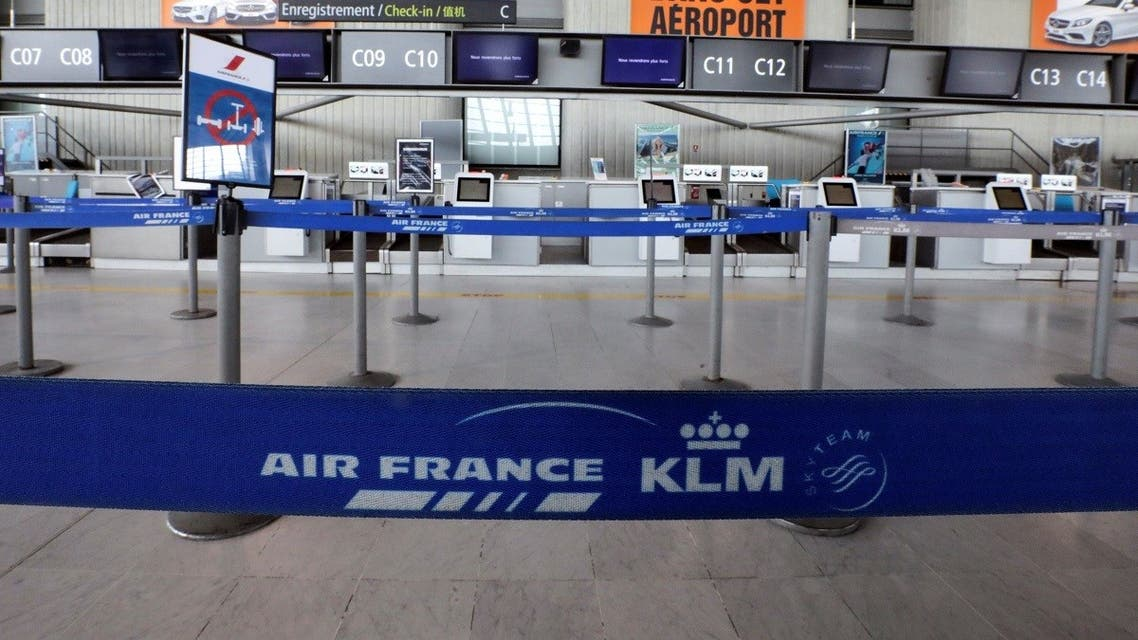 A view shows a deserted Air France check-in desk at Nice international airport, as a lockdown is imposed to slow the rate of the coronavirus disease (COVID-19), in Nice, France April 13, 2020. (Reuters)
