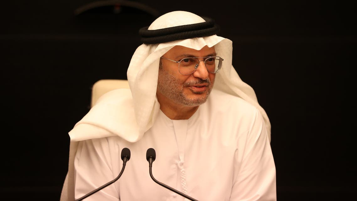 UAE's Minister of State for Foreign Affairs Anwar Gargash gives a press conference in Dubai on May 15, 2019. Gargash said on May 15 that the UAE was very committed to de-escalation after tensions soared in the Gulf following drone attacks on a pipeline and the mysterious sabotage of several ships.
