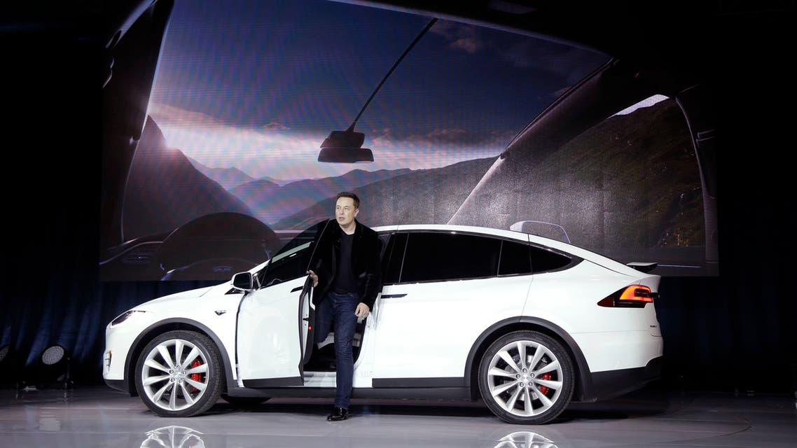 Elon Musk, CEO of Tesla Motors Inc., introduces the Model X car at the company's headquarters Tuesday, Sept. 29, 2015, in Fremont, Calif. (AP)