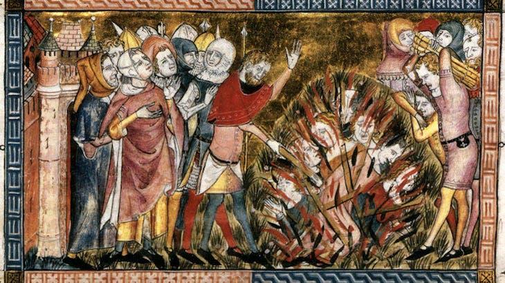 لوحة تجسد عملية حرق يهود سترازبورغ أثناء فترة الطاعون الأسود