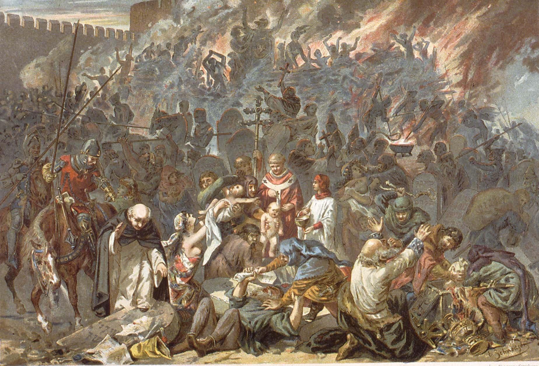 لوحة تجسد مذبحة سترازبورغ الفرنسية