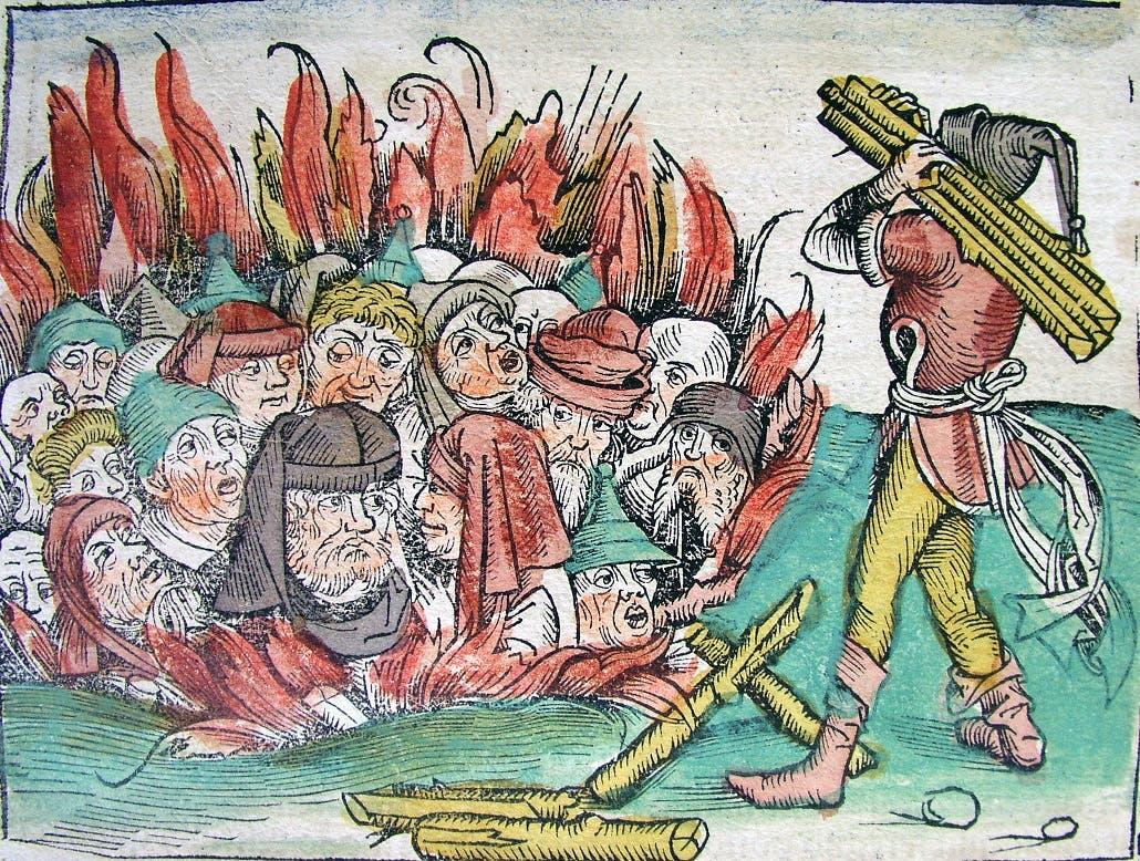 رسم تخيلي لعملية احراق عدد من اليهود بأوروبا خلال العصور الوسطى