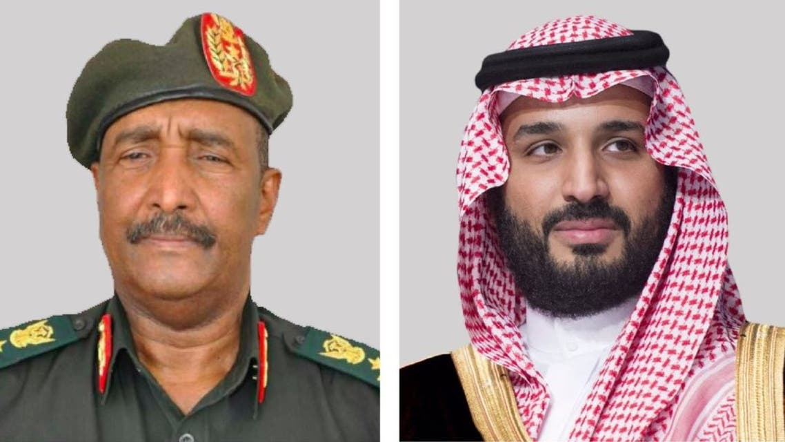 Saudi Arabia's Crown Prince Mohammed bin Salman (R) and the head of Sudan's sovereign council, Abdel Fattah al-Burhan (L). (Twitter)