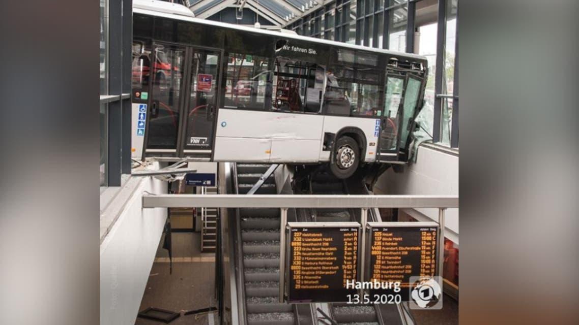 Bus crashes into a bus station in German city of Hamburg (Photo courtesy: Tagesschau show/ARD via Instagram)