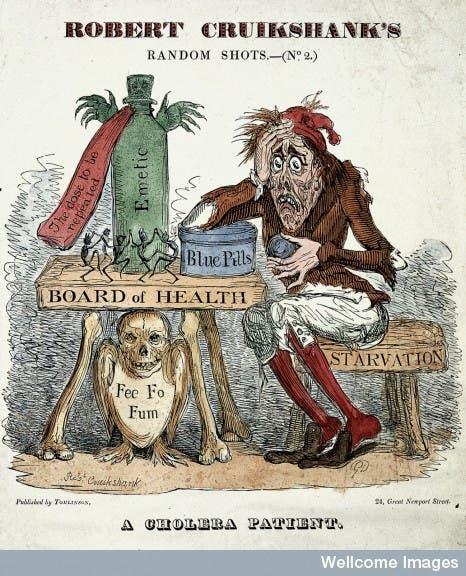 رسم ساخر يبرز أحد المصابين بالكوليرا بلندن