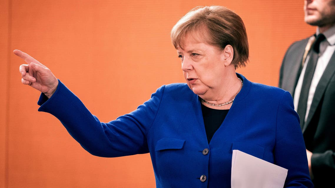 German Chancellor Angela Merkel attends the weekly cabinet meeting, as the spread of the coronavirus disease (COVID-19) continues, in Berlin, Germany, May 13, 2020. Kay Nietfeld/Pool via REUTERS