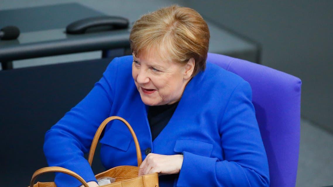 German Chancellor Angela Merkel attends the weekly cabinet meeting, as the spread of the coronavirus disease (COVID-19) continues, in Berlin, Germany, May 13, 2020. Kay Nietfeld/Pool via REUTERS