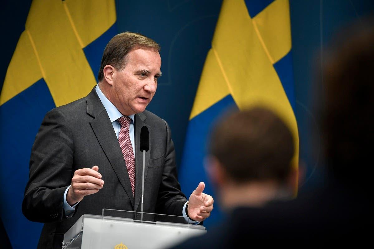 Sweden's Prime Minister Stefan Lofven speaks during a press briefing on the coronavirus pandemic situation, in Stockholm, Sweden. (AFP)