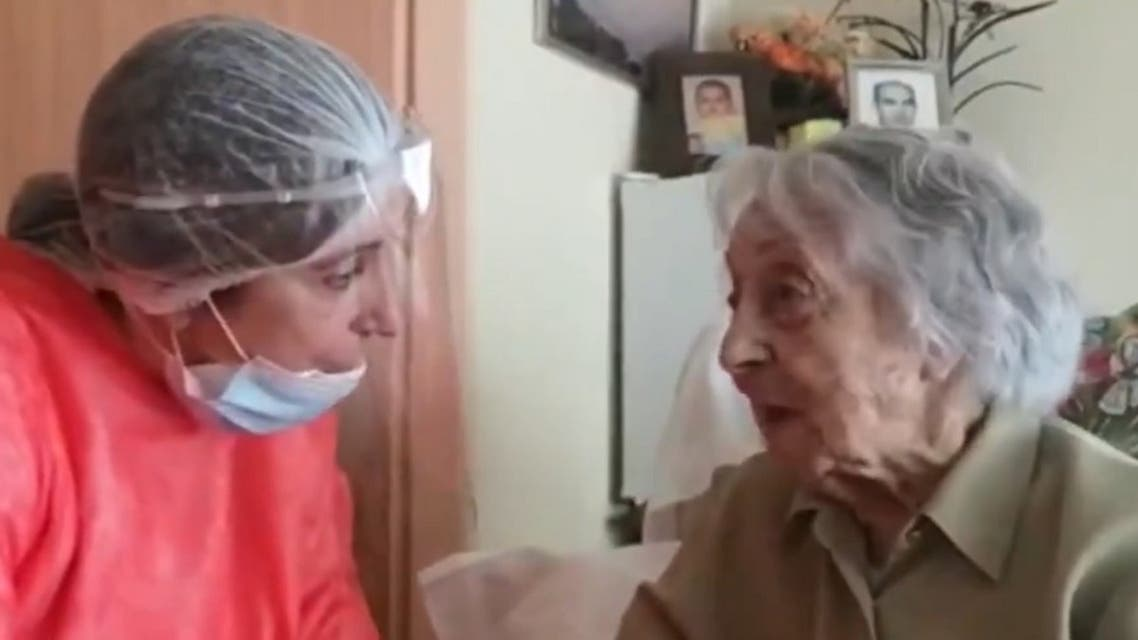 Maria Branyas, who was born in the US, was infected with the virus in April at the Santa Maria del Tura care home in the eastern city of Olot, Spain. (Twitter/La Vanguardia)