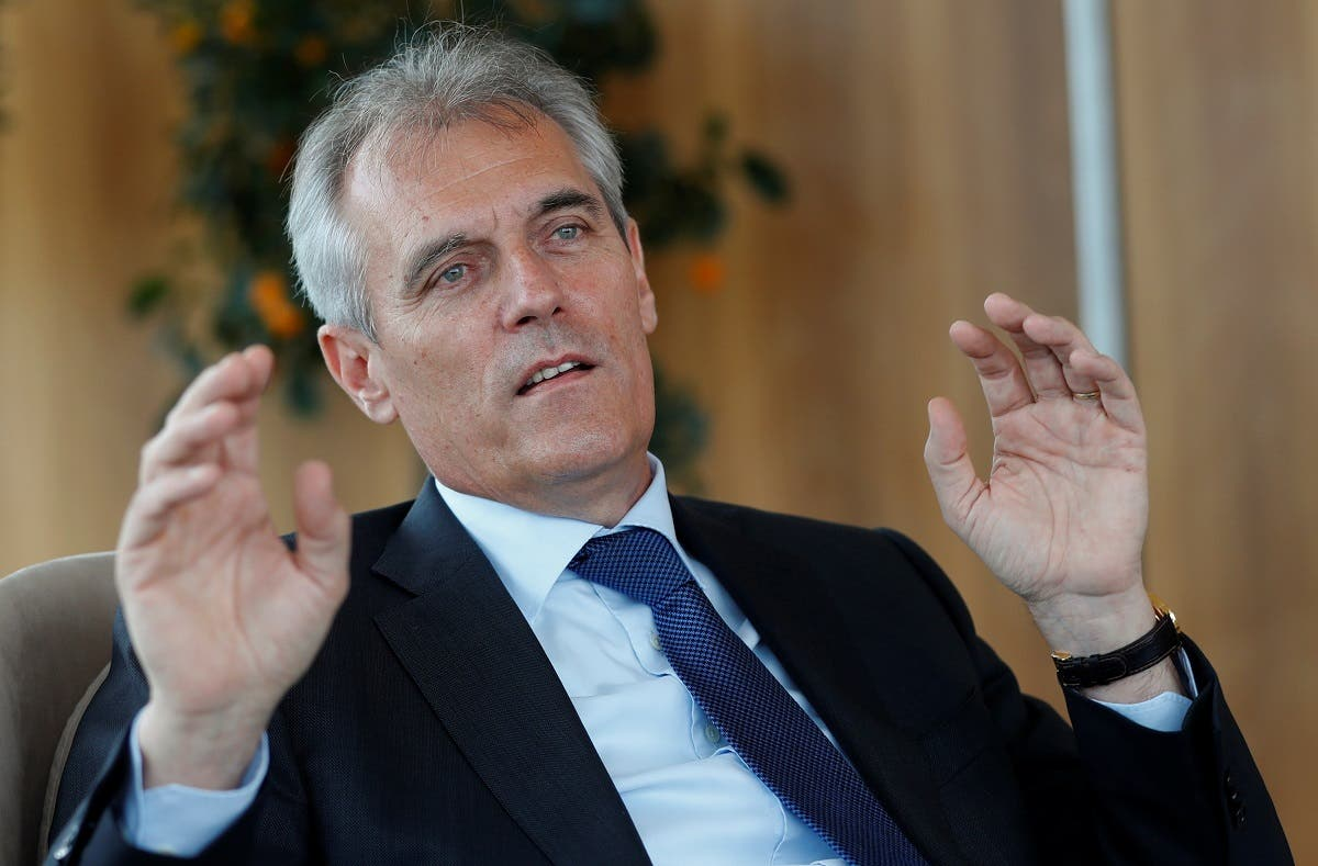 Chief executive of Austrian energy group OMV Rainer Seele gestures during an interview with Reuters in Vienna, Austria, on May 12, 2020. (Reuters)