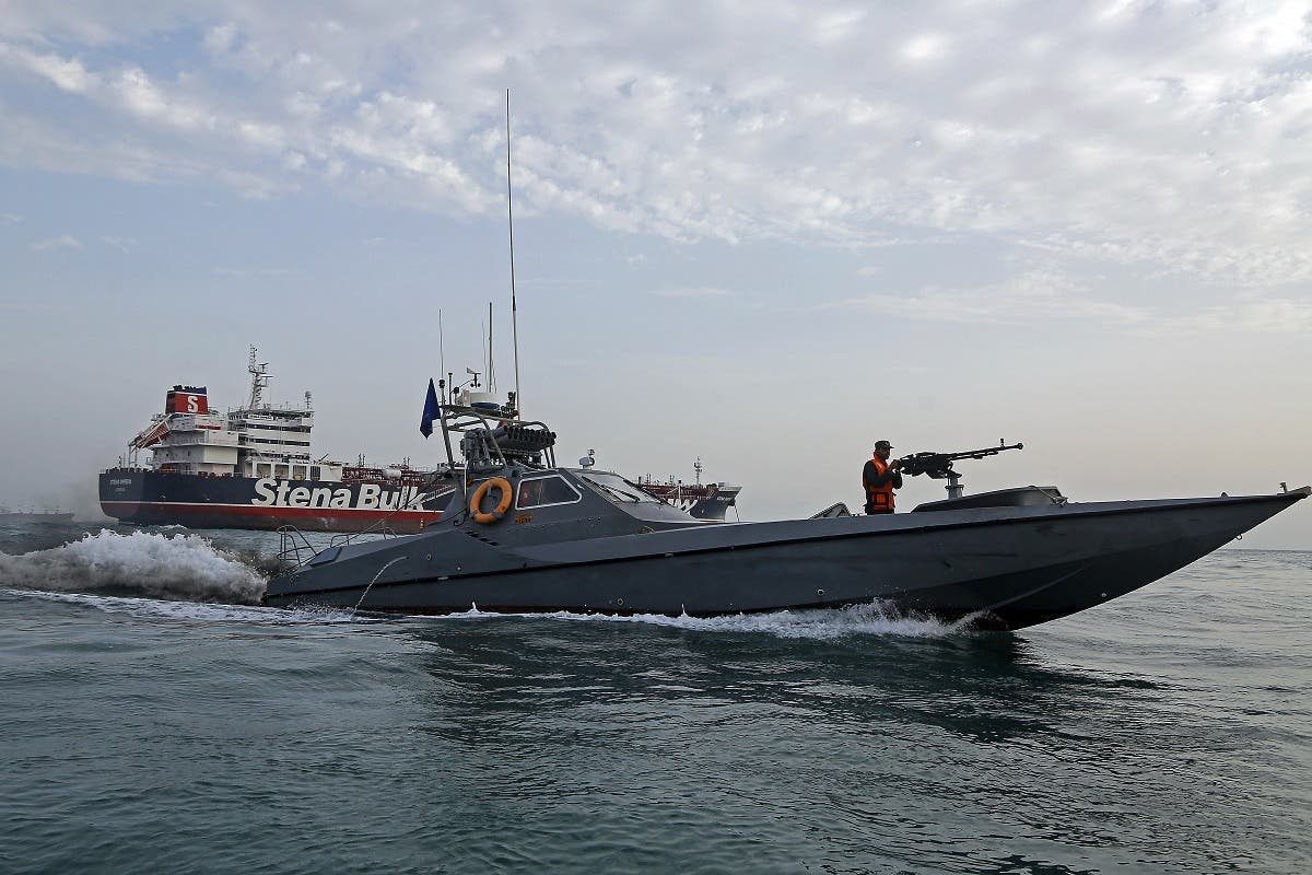 A picture taken on July 21, 2019, shows Iranian Revolutionary Guards patrolling around the British-flagged tanker Stena Impero as it's anchored off the Iranian port city of Bandar Abbas. (File photo: AFP)