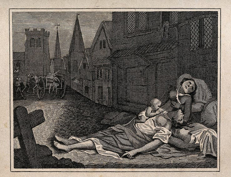 رسم تخيلي لجانب من جثث ضحايا طاعون لندن