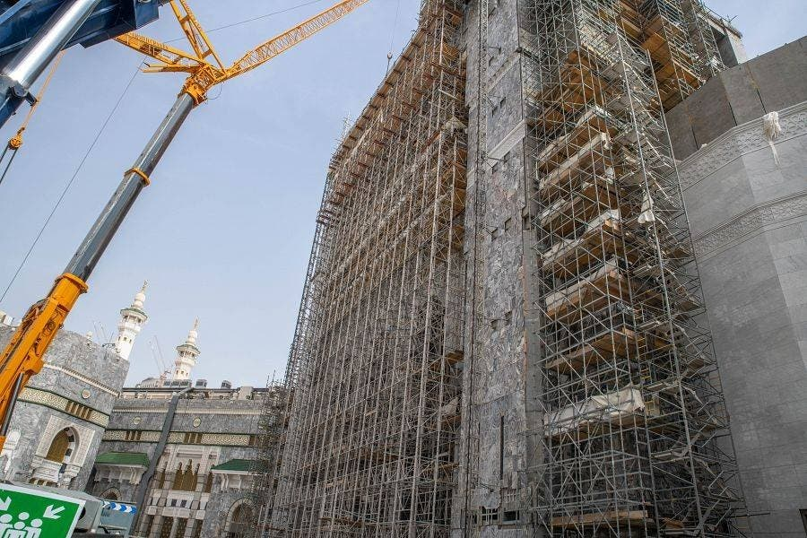 Scaffolding as work continues on the Grand Mosque of Mecca's third expansion, Saudi Arabia. (SPA)