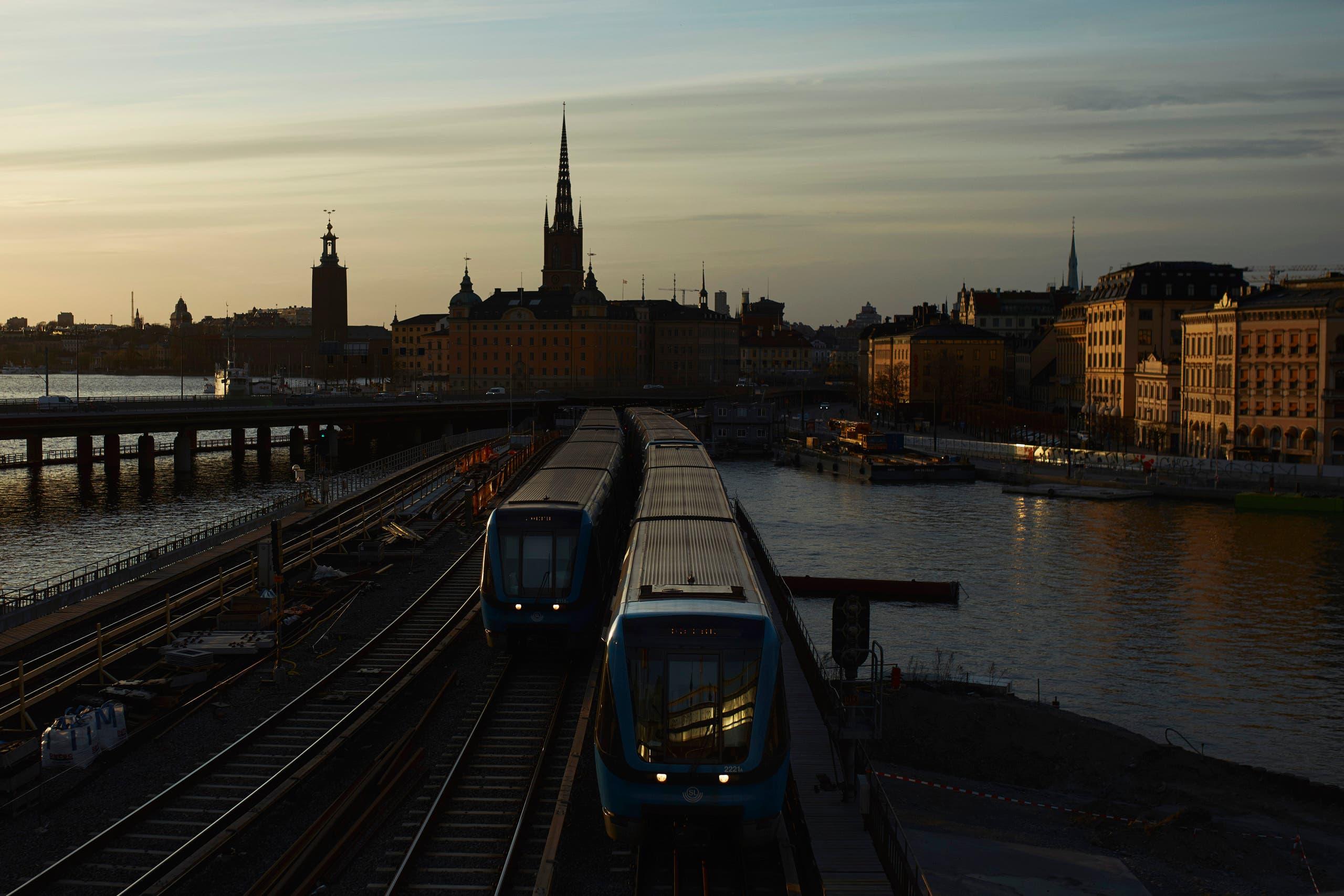 Trains move towards T-Centralen station in Stockholm, Sweden, on Wednesday, April 8, 2020. (AP)