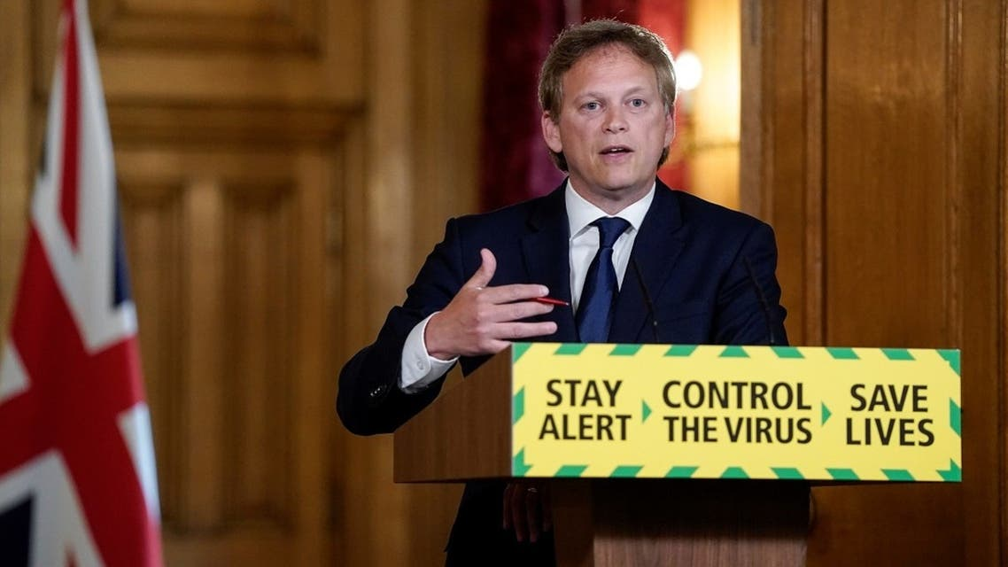 Britain's Secretary of State for Transport Grant Shapps speaks at the daily digital news conference on the coronavirus disease at 10 Downing Street in London, Britain May 14, 2020. (Reuters)
