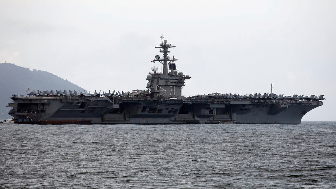The USS Theodore Roosevelt (CVN-71) is seen while entering into the port in Da Nang, Vietnam, March 5, 2020. (Reuters)