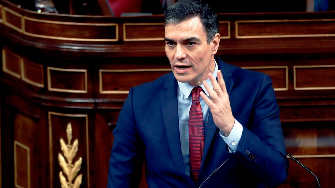 Spain's Prime Minister, Pedro Sanchez speaks at a parliamentary session in Madrid, Spain, on Thursday, April 9, 2020. (AP)