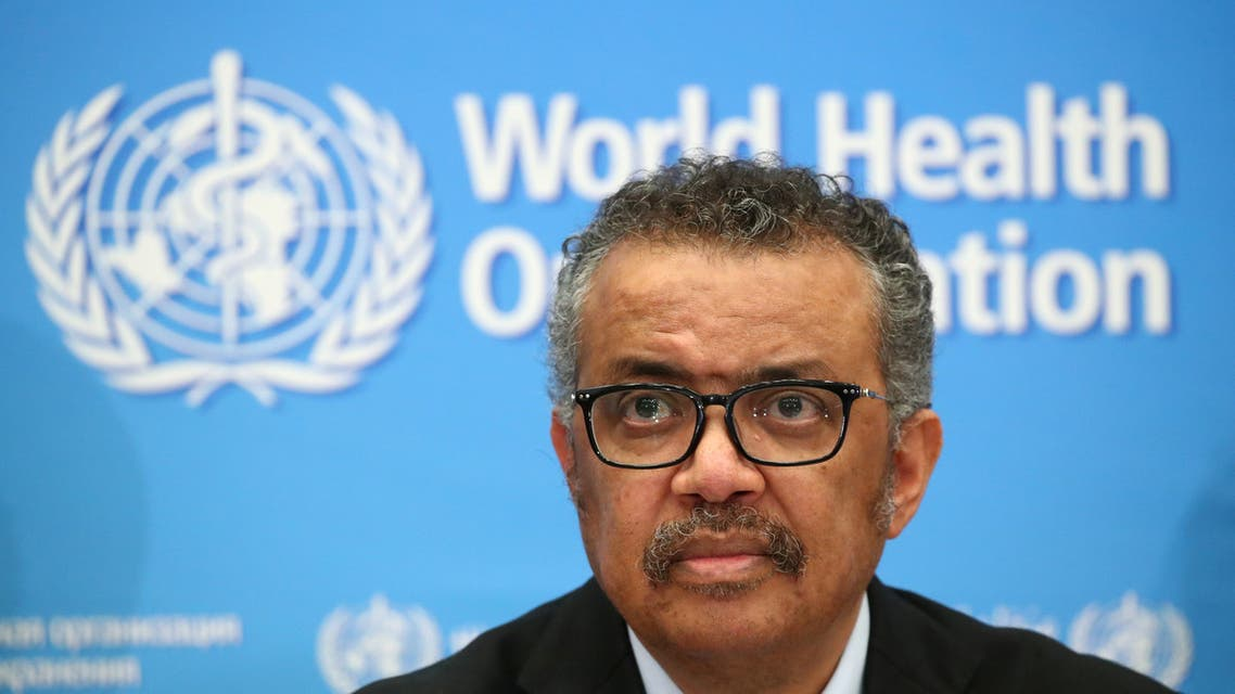 Director-General of the WHO Tedros Adhanom Ghebreyesus, attends a news conference on the coronavirus (COVID-2019) in Geneva