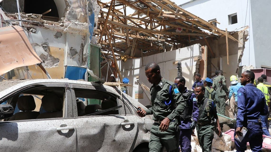 A file photo of security personel secure the scene of a car-bomb attack on February 4, 2019 in Somalia capital Mogadishu's Hamarwayne District. (AFP)