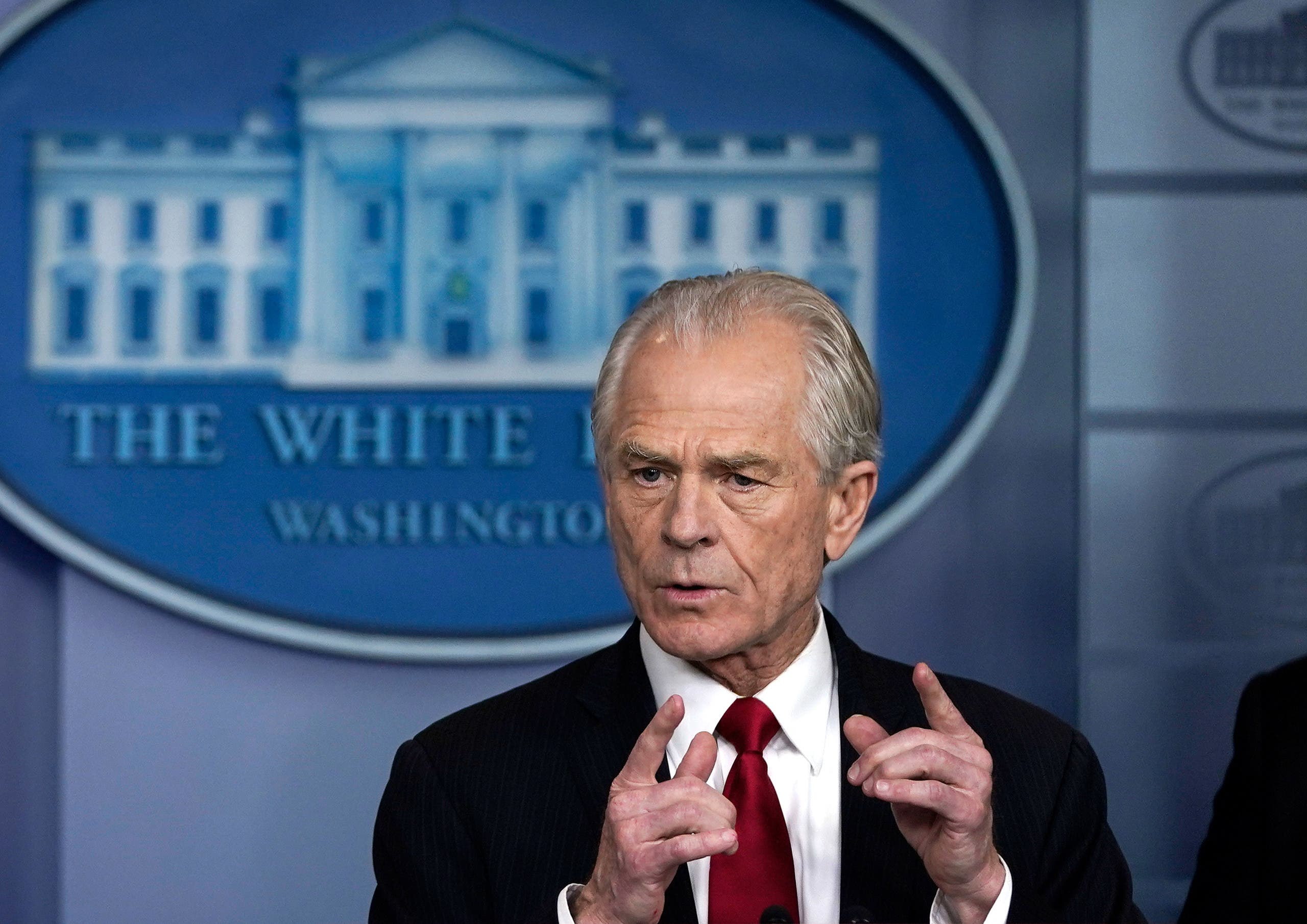 White House Trade and Manufacturing Policy Director Peter Navarro speaks during a briefing on the coronavirus pandemic in the press briefing room of the White House on March 27, 2020 in Washington, DC. (AFP)