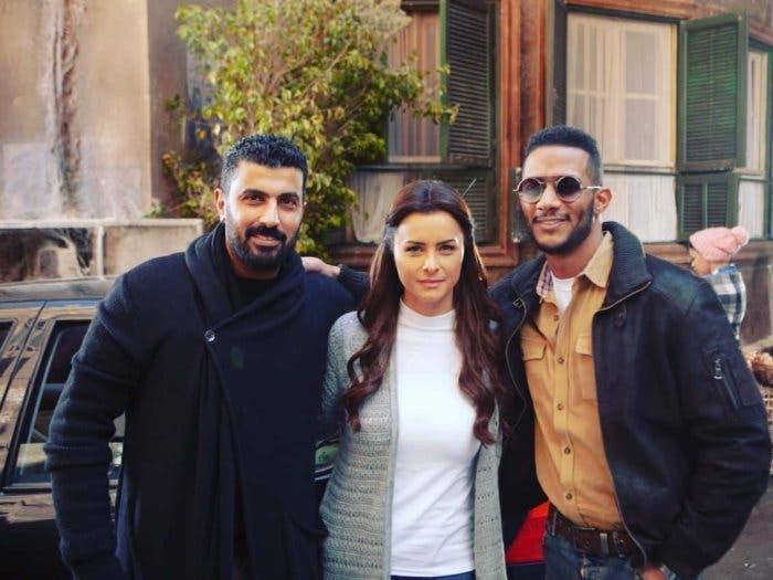 """محمد رمضان ونور والمخرج محمد سامي في كواليس مسلسل """"البرنس"""""""