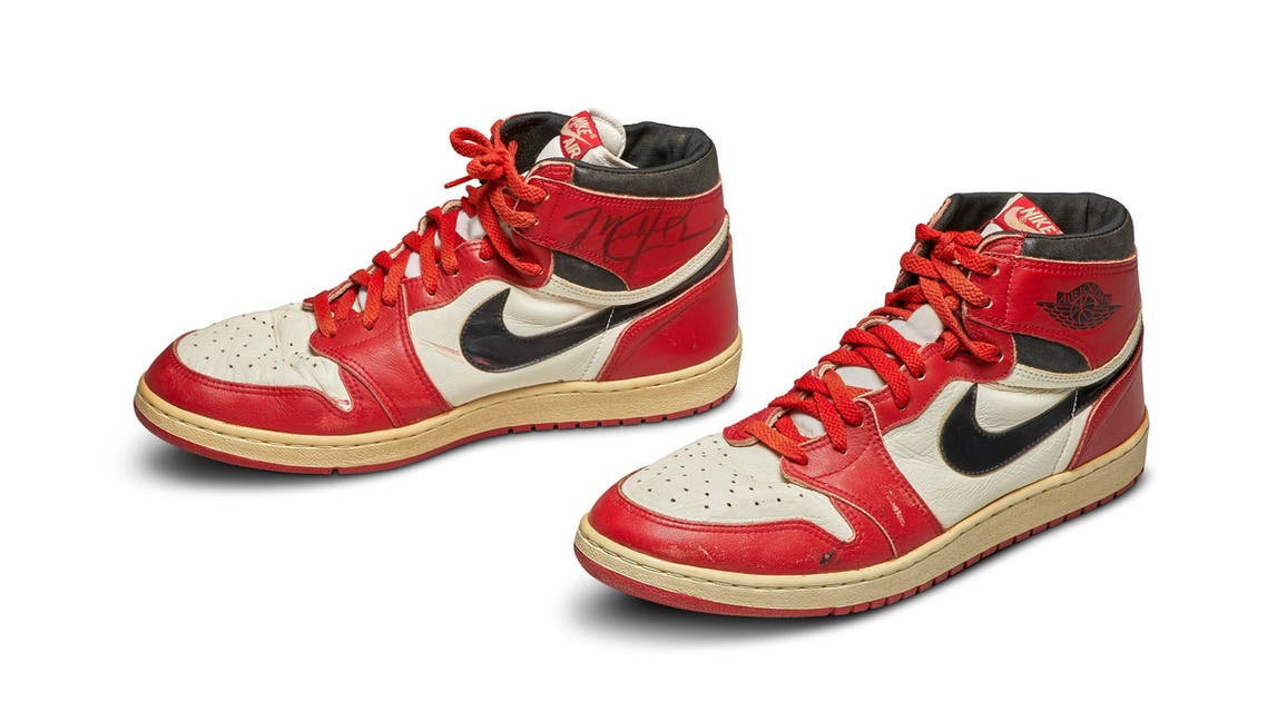 A pair of 1985 Nike Air Jordan 1s, made for and worn by US basketball player Michael Jordan, seen in a photo ahead of an online auction by Sotheby's New York. (Sotheby's/Reuters)