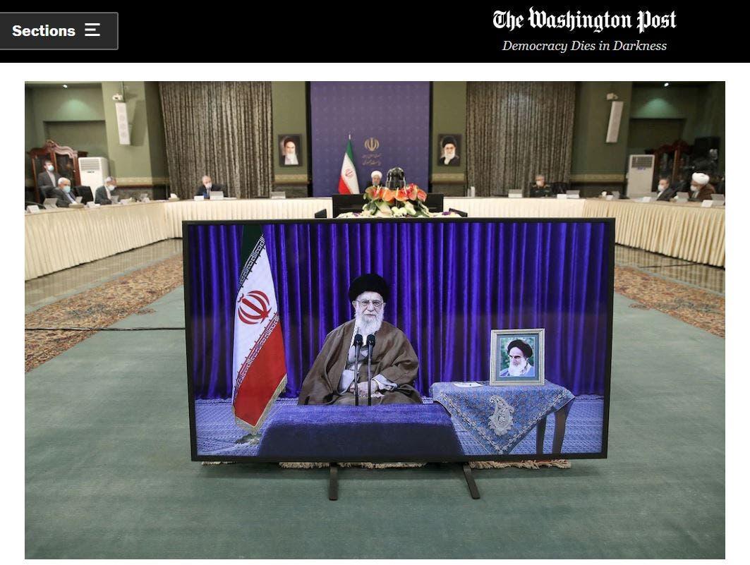 أثناء اجتماع بالفيديو بين المرشد علي خامنئي والرئيس حسن روحاني
