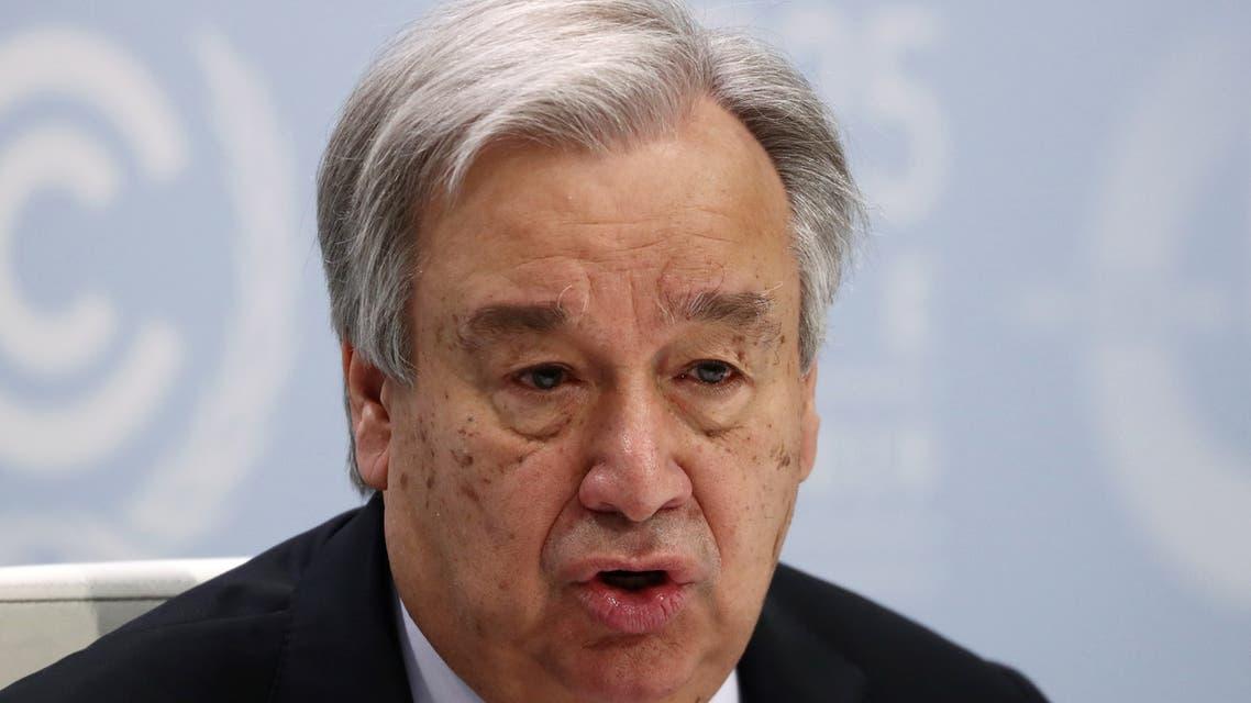U.N. Secretary-General Antonio Guterres speaks during a news conference on the eve of the U.N. climate summit (COP25) in Madrid, Spain, December 1, 2019. REUTERS/Sergio Perez