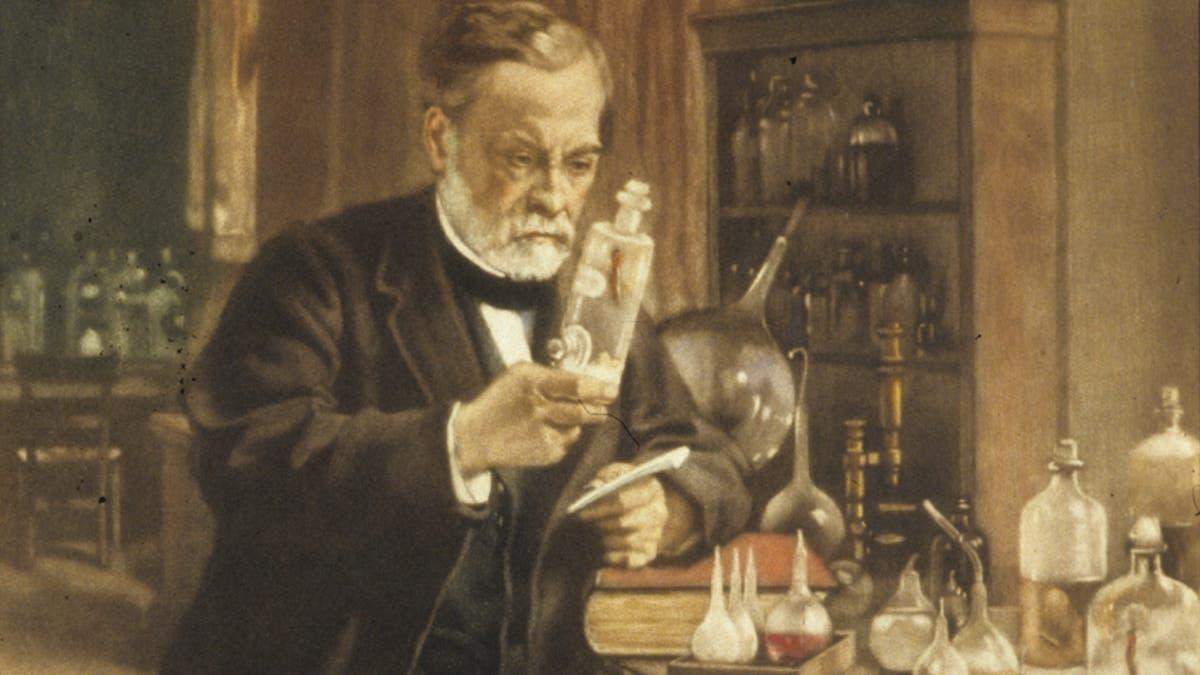 لوحة تجسد لويس باستور داخل مختبره