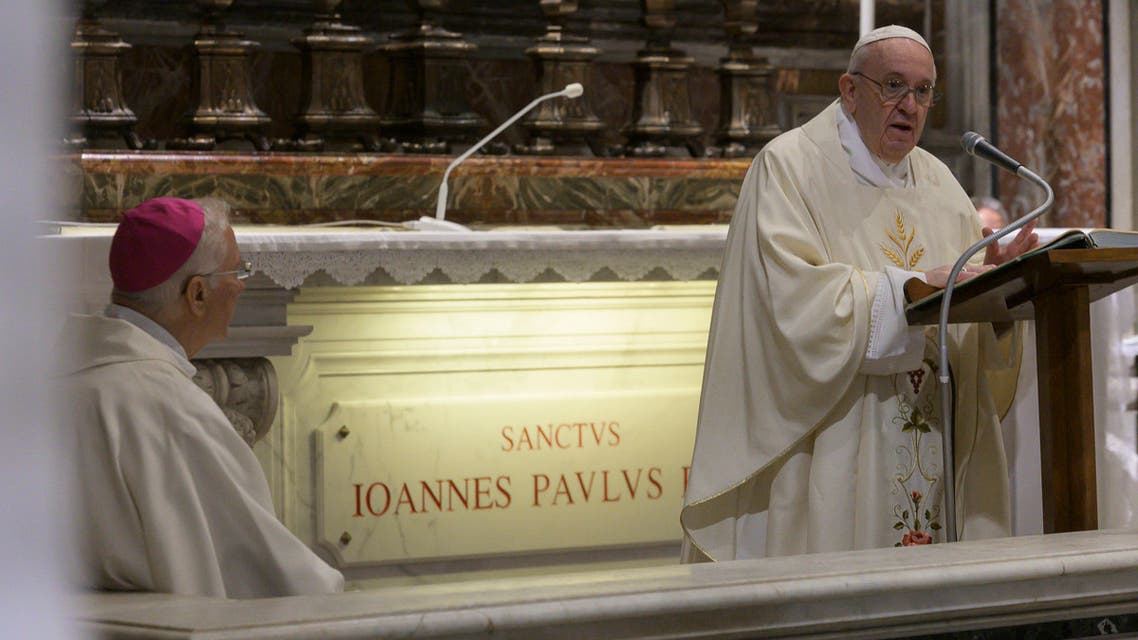 Pope Francis celebrates a Mass for the 100th anniversary of the birth of Pope John Paul II, in St. Peter's Basilica, at the Vatican on May 18, 2020. (AP)