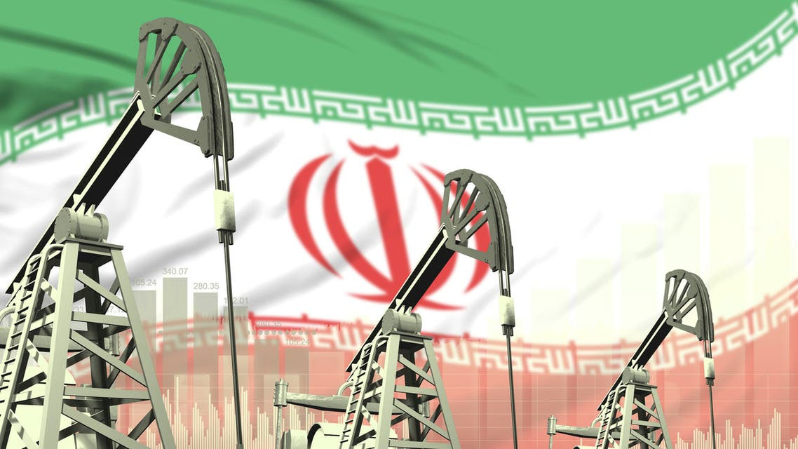 Industrial illustration of oil wells - Iran oil industry concept on flag background. 3D Illustration stock photo