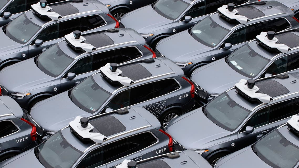 Uber autonomous vehicles sit in a lot in Downtown Pittsburgh on Wednesday, May 6, 2020. (AP)