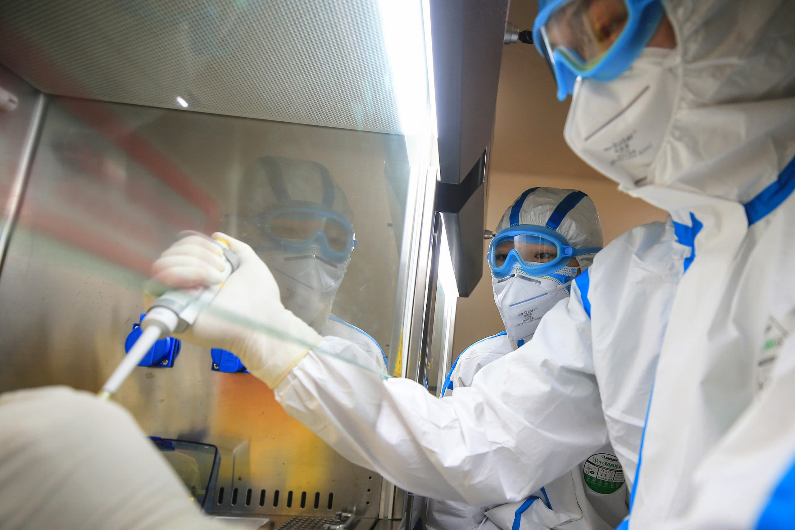 Laboratory technicians testing samples of coronavirus at a laboratory in Hengyang in China's central Henan province on February 18, 2020. (File photo: AFP)