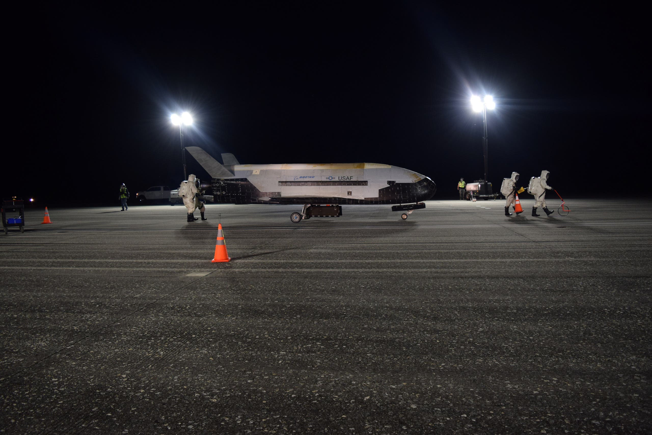 The US Air Force's X-37B Orbital Test Vehicle Mission 5 is seen after landing at NASA's Kennedy Space Center Shuttle Landing Facility, in Florida, on October 27, 2019. (Reuters)