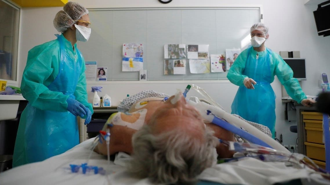 A patient suffering from the coronavirus disease (COVID-19) is treated in the Intensive Care Unit (ICU) at the hospital in Vannes during the outbreak of the coronavirus disease in France, May 6, 2020. (Reuters)