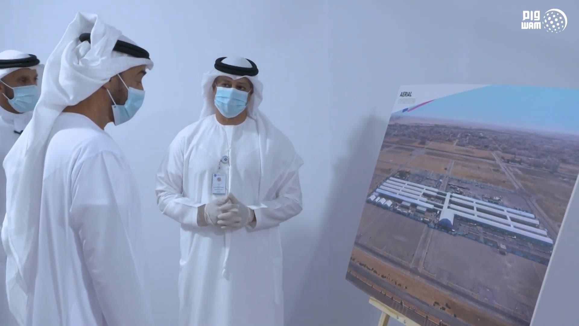 Sheikh Mohammed bin Zayed inspects a field hospital in Abu Dhabi. (WAM)