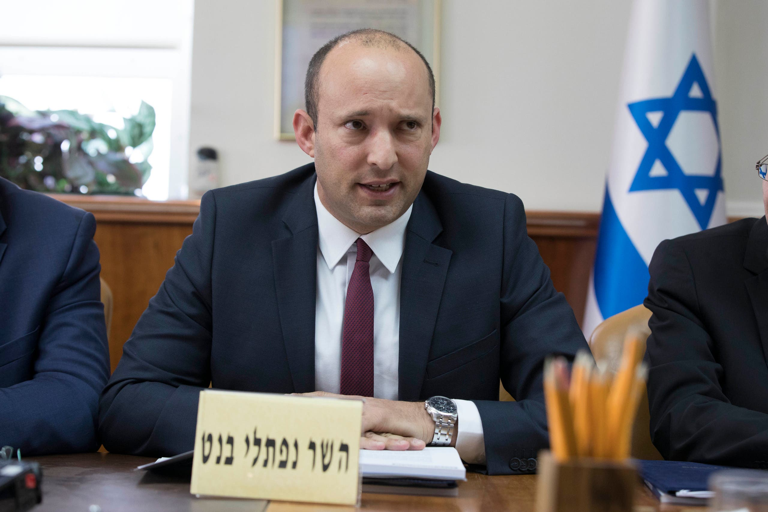 Israeli Minister Naftali Bennett speaks during the weekly cabinet meeting at prime minister office in Jerusalem on January 27, 2019. (File photo: AFP)
