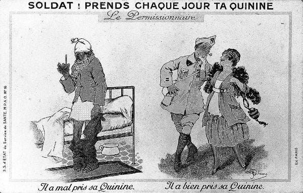ملصق دعائي يدعو الجنود الفرنسيين لتناول الكينين لحماية أنفسهم