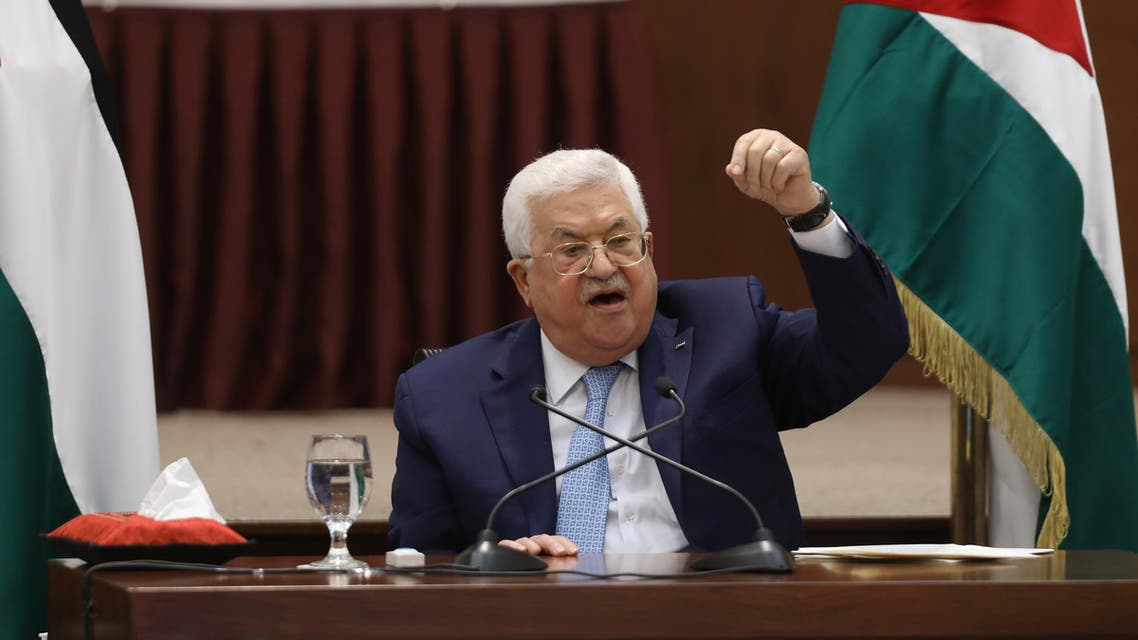 Palestinian President Mahmoud Abbas speaks during a leadership meeting in Ramallah, in the Israeli-occupied West Bank, May 19, 2020. (Reuters)