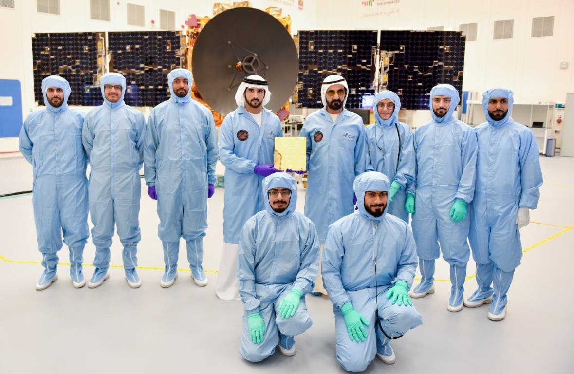 Dubai's ruler Sheikh Mohammed bin Rashid Al Maktoum, Sheikh Hamdan bin Mohammed bin Rashid Al Maktoum, and the team of Emirati nationals leading the Mars Hope Probe mission. (WAM)