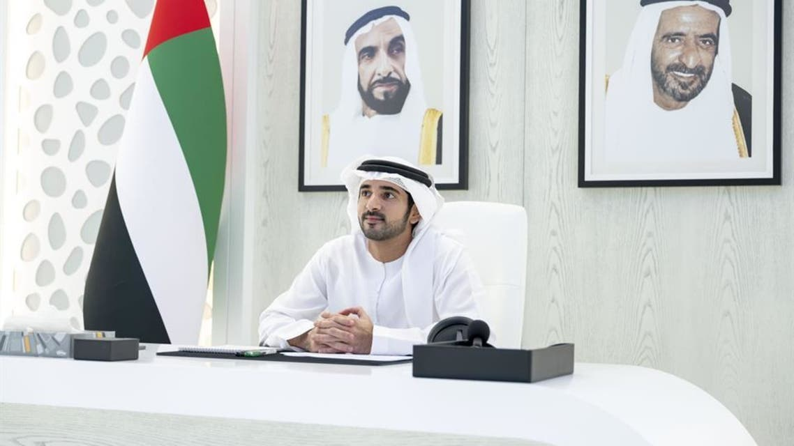 Dubai Crown Prince Sheikh Hamdan bin Mohammed bin Rashid Al Maktoum chairing a virtual meeting of the Executive Council on May 19, 2020. (Twitter)