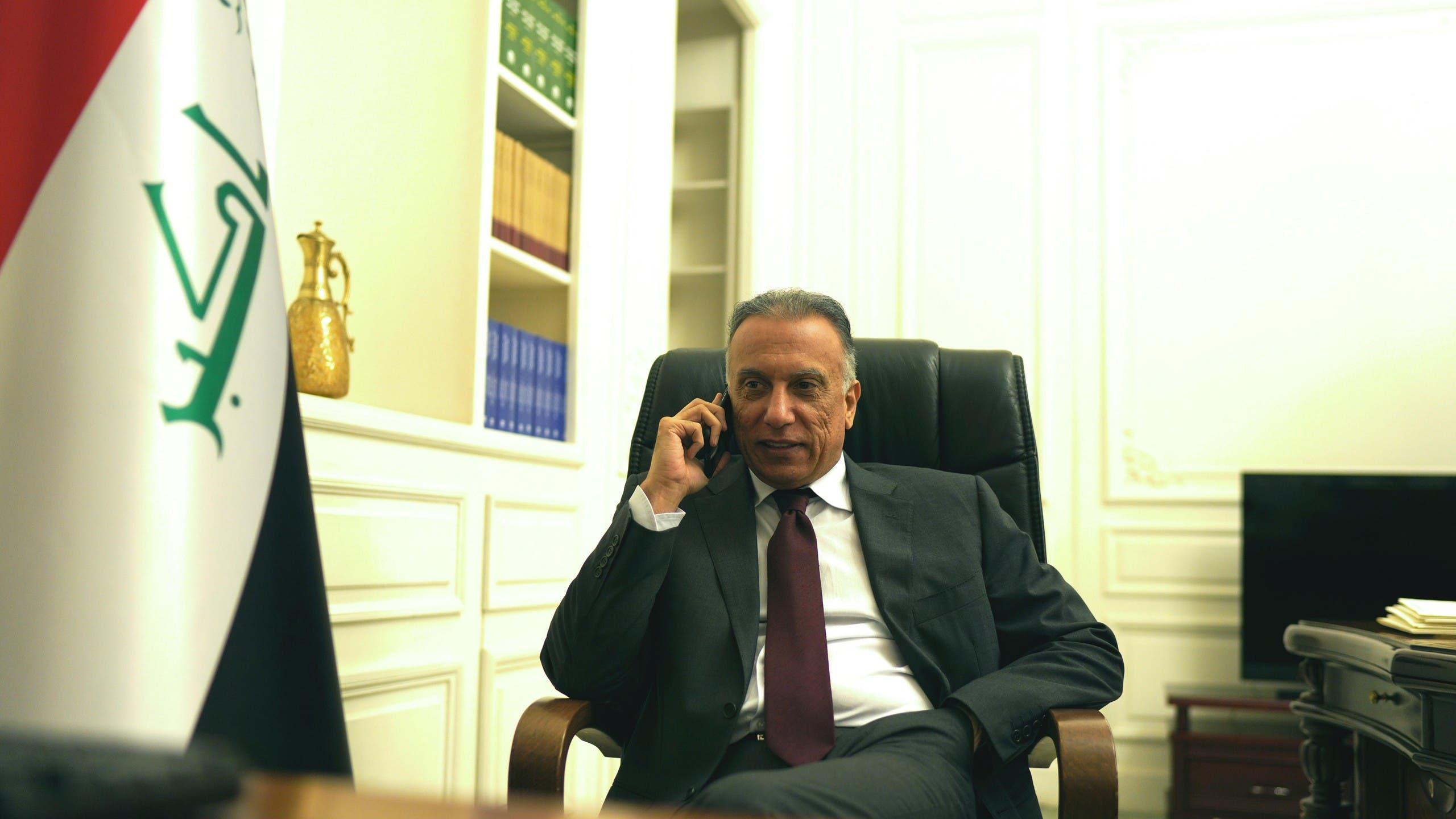 Iraqi Prime Minister Mustafa al-Kadhimi at his office in Baghdad, Iraq..(Reuters)
