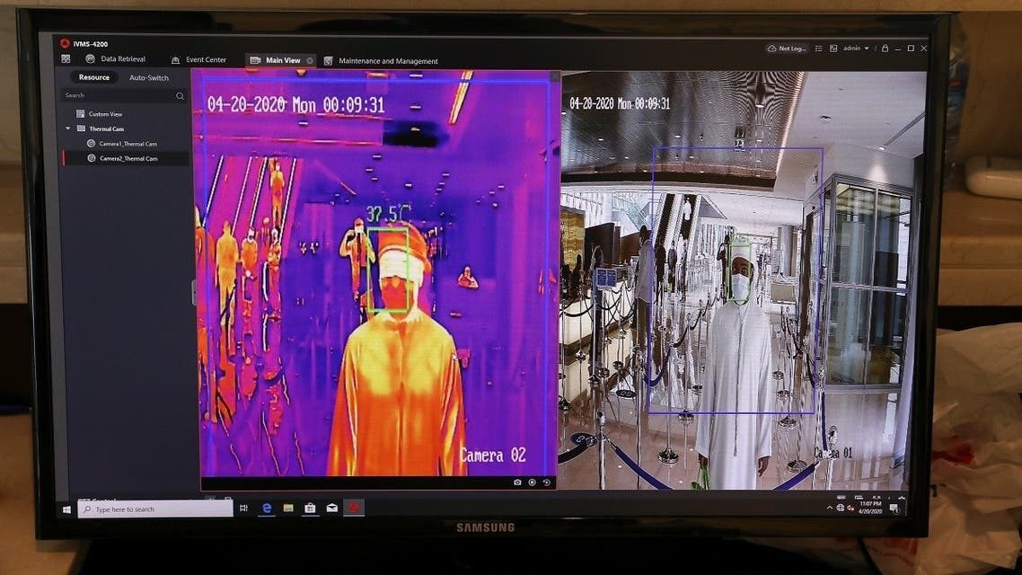 A man is seen through a thermal camera while entering the Cleveland Clinic hospital, amid the coronavirus disease (COVID-19) outbreak, in Abu Dhabi, United Arab Emirates. (Reuters)