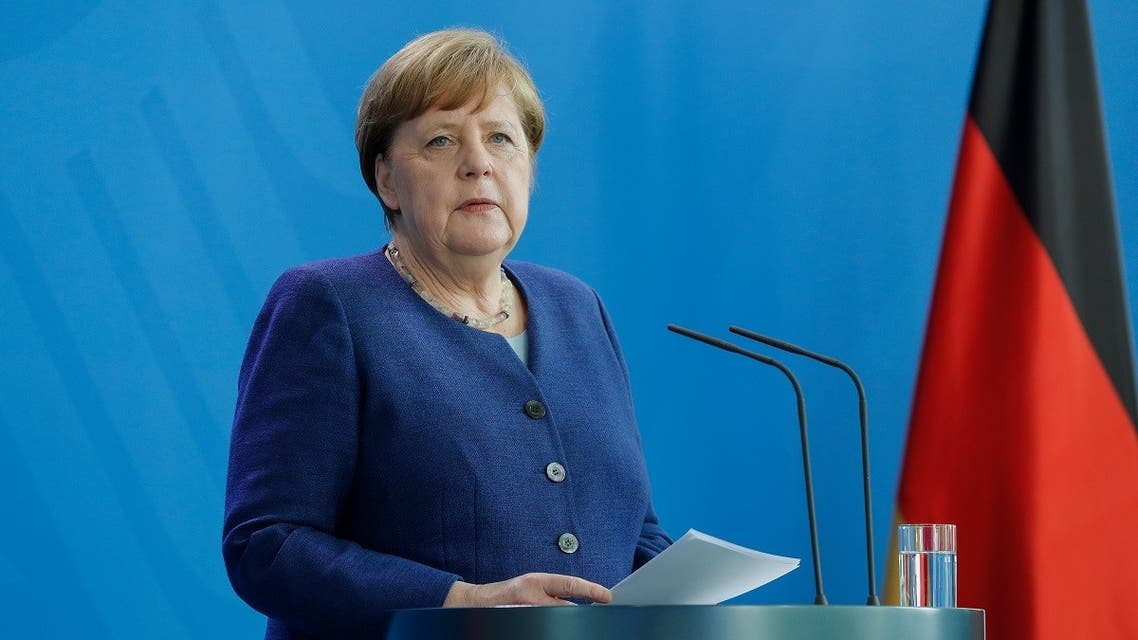Merkel at a press conference following a meeting with international economic and Financial organizations at the Chancellery in Berlin, Germany, on May 20, 2020 on the effects of the novel coronavirus pandemic. (AFP)