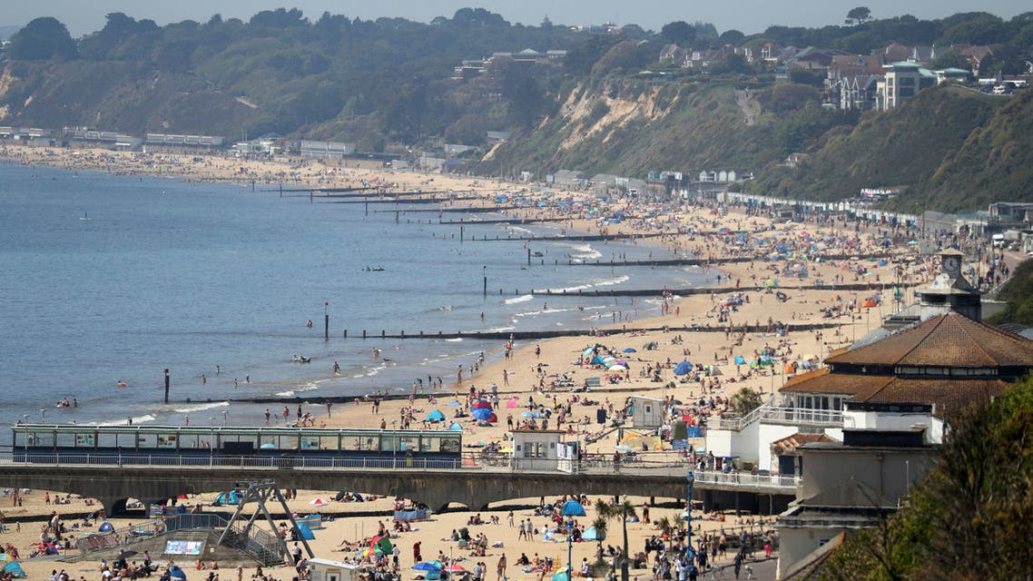A view of Bournemouth beach on a sunny day, in Bournemouth, England, on Wednesday May 20, 2020. (AP)