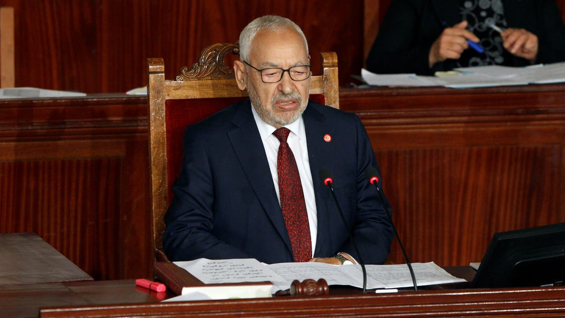 Rached Ghannouchi, leader of Tunisia's moderate Islamist Ennahda party, attends the parliament's opening with a session to elect a speaker, in Tunis, Tunisia November 13, 2019. REUTERS/Zoubeir Souissi