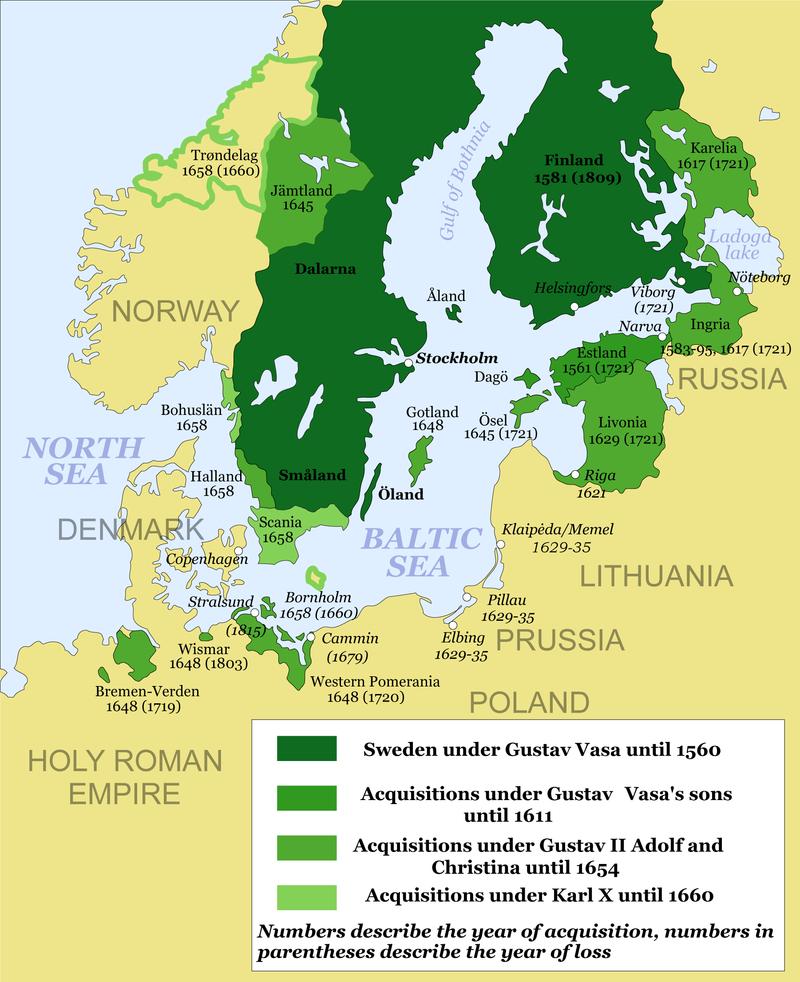 خريطة السويد خلال أوج توسعها