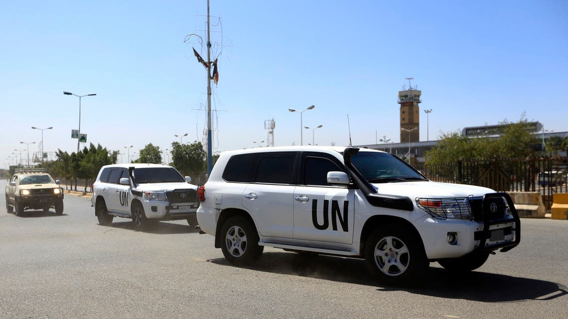 A picture taken on January 31, 2019 shows the motorcade of UN special envoy for Yemen travelling en route to Sanaa International Airport.
